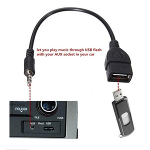 2016 3.5mm Male Audio AUX Jack to USB 2.0 Type A Female OTG Converter Adapter Cable very nice