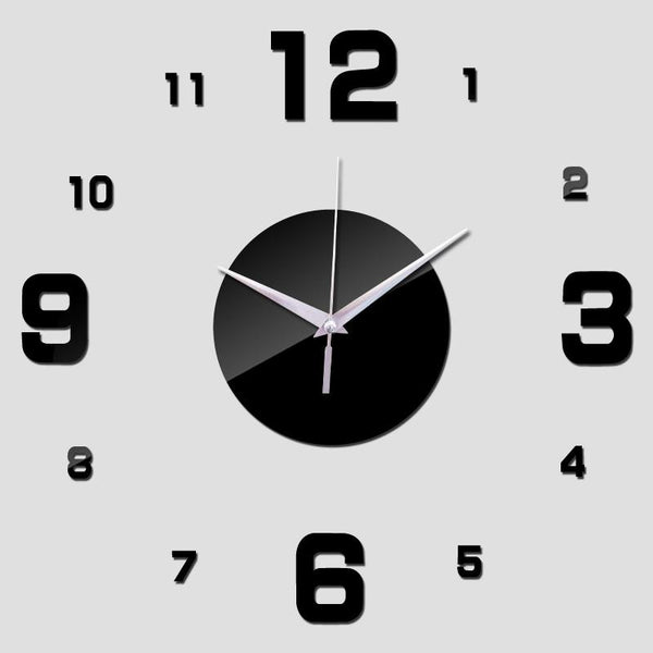 2016 diy wall clock digital clocks watch horloge acrylic 3d mirror stickers morden living room still life quartz needle
