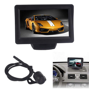 2016 4.3Inch Car TFT LCD Monitor Mirror + Reverse Rear View Backup CMOS Camera Car Auto Rear View Camera