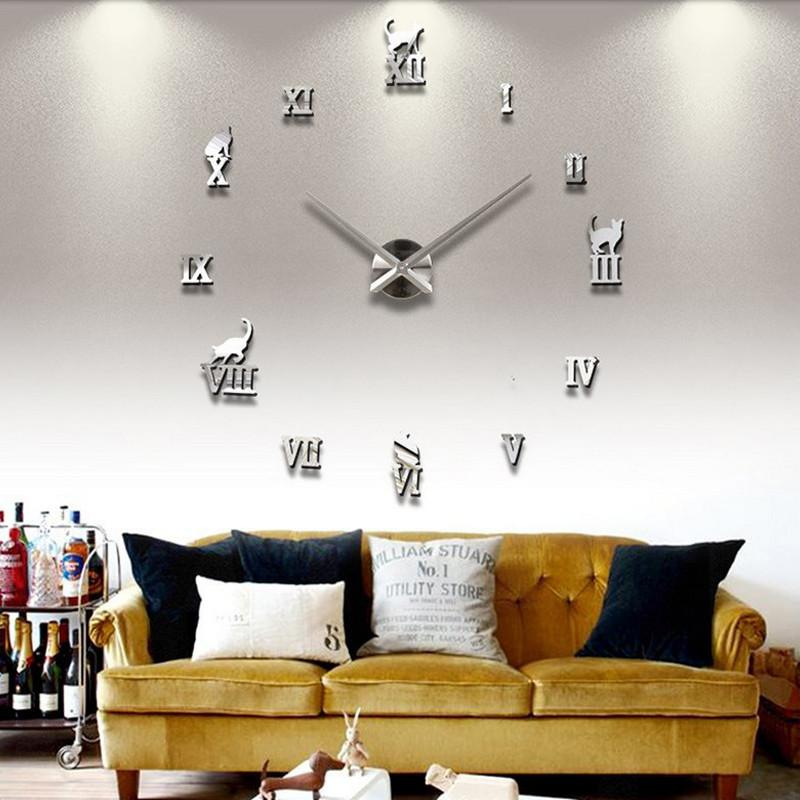 2016 home decorations large wall clock Acrylic Living Room Quartz Needle watch clocks modern design