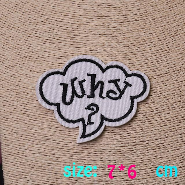 2016year 1PC letter why cute Iron On Embroidered Patch For Cloth Cartoon Badge Garment Appliques DIY Accessory
