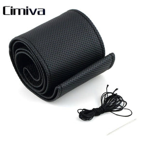 2017 Cimiva Sew Soft PU Leather Car Auto Anti-slip Breathability Steering Wheel Cover With Needles and Thread Black