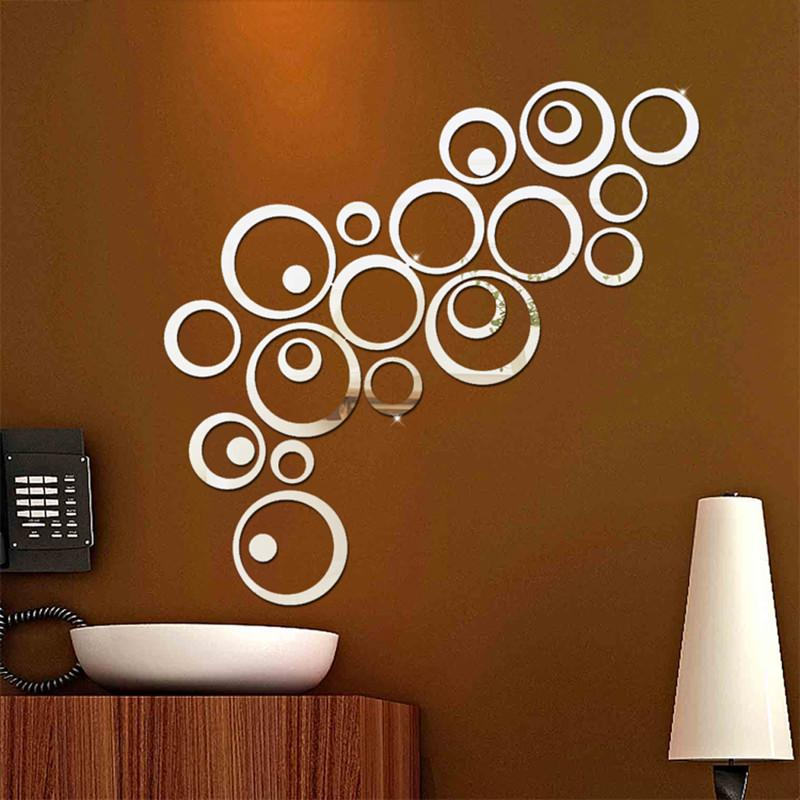 2017 s 24Pcs Circles Wall Stickers Mirror Style Removable Decal Vinyl Art Mural Wall Sticker Home Adesivo De Parede
