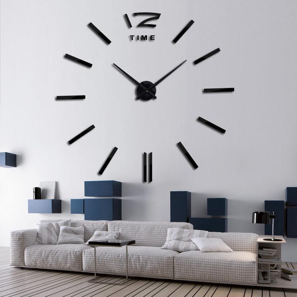 2017 Quartz clocks fashion watches 3d real big wall clock rushed mirror sticker diy living room decor