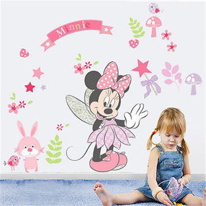 2017 Cartoon Beautiful Minnie Mouse Wall Decals Sticker Vinyl Mural DIY Girls Bedroom Decor