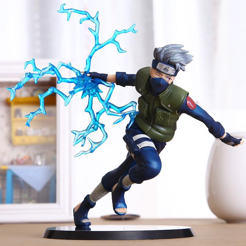 22cm Cool Naruto Kakashi Sasuke Action Figure Anime puppets Figure PVC Toys Figure Model Table Desk Decoration Accessories