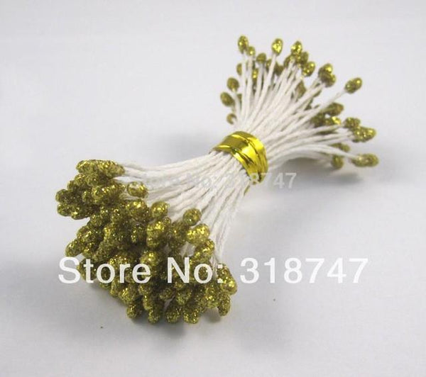 288pcs Lot 3mm Double Tips Multicolor Floral Glitter Stamen Pistil Wedding Decoration Diy 11070301288