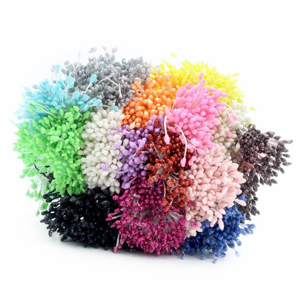 288pcs lot 3mm Double Tips Multicolor Floral Glitter Stamen Pistil Wedding Decoration DIY 11070301(288)