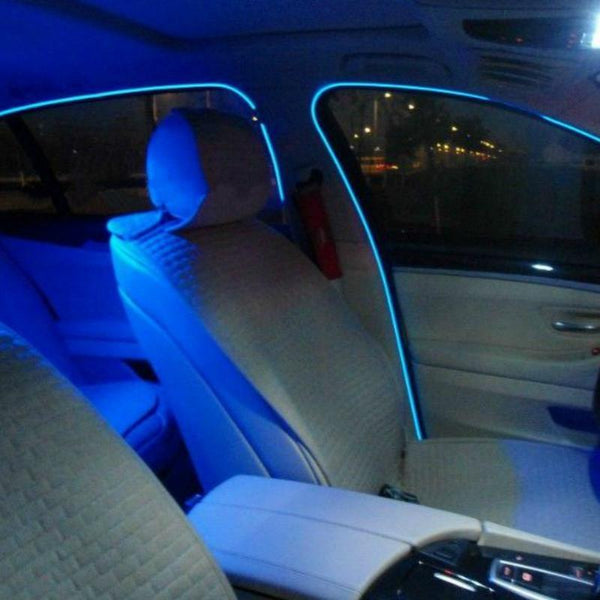2pcs 2.3mm 1m 2m 3m flexible neon light glow el salon wire flat led strip for car interior lights with Controller