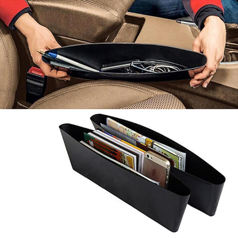 2PCS Car Seat Pockets Catch Catcher Storage Organizer Box Caddy Car Between Seat Slit Pocket Black*2