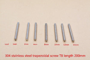 304 Stainless Steel T8 Screw Length 200mm Lead 1mm 2mm 4mm 8mm 10mm 12mm 14mm Trapezoidal Spindle Screw 1pcs