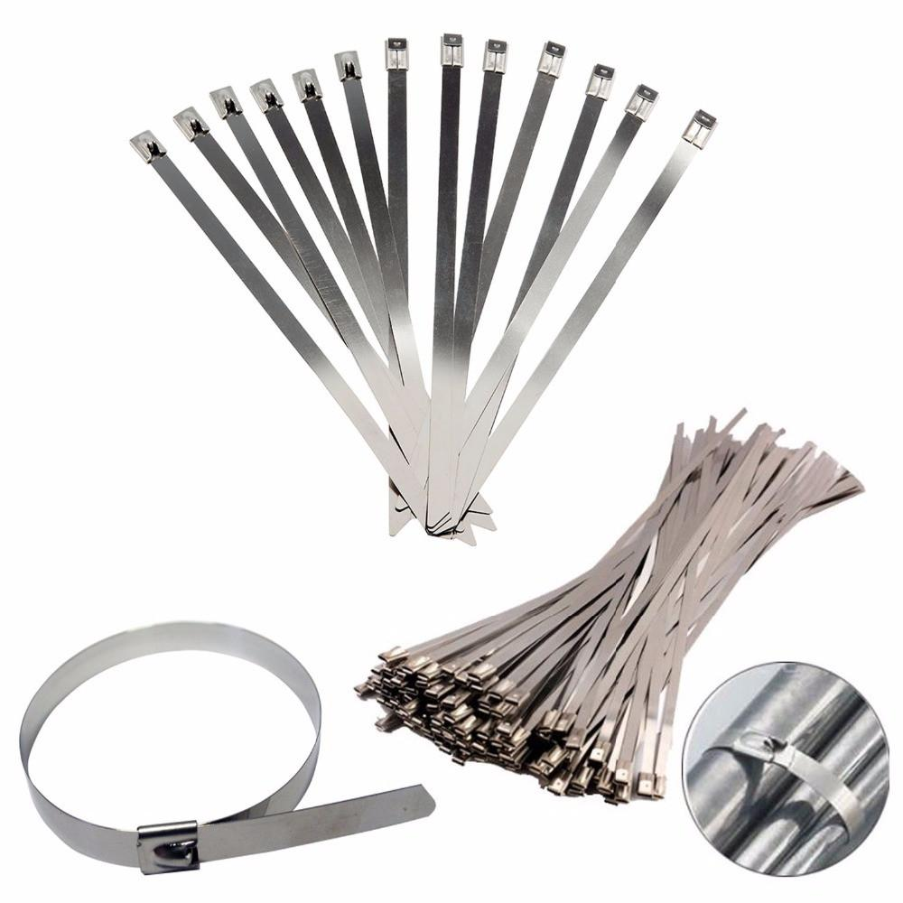 30cm Stainless Steel Zip Ties Straps Fits Motor Motorcycle Exhaust Header Wrap x 25pcs