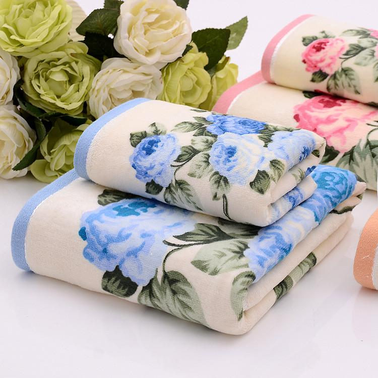 35*75 70*135cm Floral Pattern Cotton Bath Towels for Adults Beach Terry Bath Towels Bathroom Flower Bath Towel Serviette de Bain