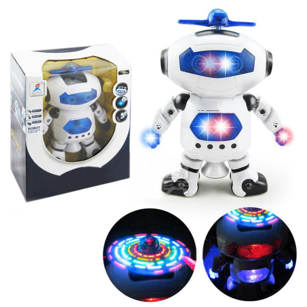 360 Rotating Space Dancing Robot Kids Musical Walking Toys Lighten Electronic Robots Christmas Birthday For Children