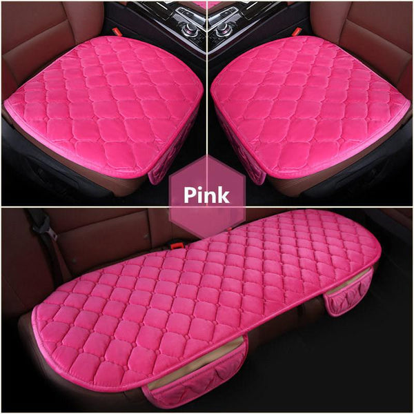3pcs Set Car Supplies Square Style Luxurious Warm Car Seat Cover Cushion Winter Universal Front Back Seat Covers Car Chair Pad