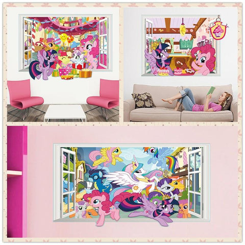 * 3D Cartoon My Little Pony Window Wall Stickers Decal Poster Kids Nursery Bedroom Home Decor Vinyl Removeable Wallpaper