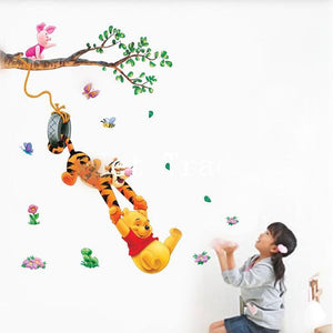3D Pooh Tree Animal Cartoon Vinyl Wall Stickers for Kids Bedrooms Home decals DIY Child Wallpaper Art Decals Decoration Stickers