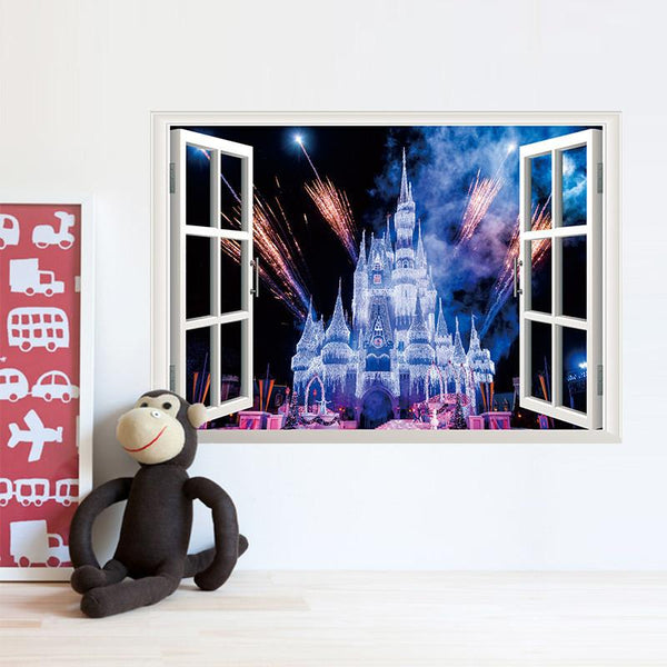 3d window view Ancient Princess Castle home decals wall sticker for kids room girls bedroom decorative mural poster