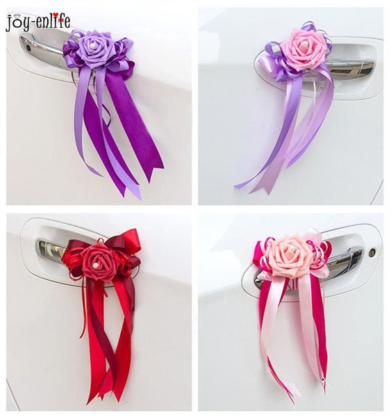 4pcs Handmade Ribbon Bride Bridesmaid wedding flower bouquet Wrist Flower wedding car decoration with flower wedding supplies