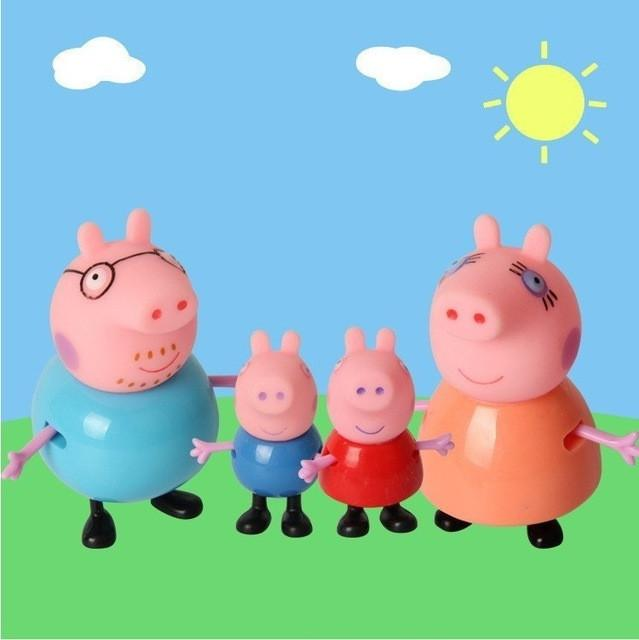 4pcs peppa pig Toys PVC Action Figures Family Member Pig Toy Juguetes Baby Kid Birthday