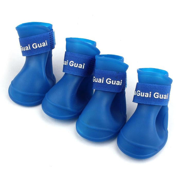 4pcs Set Pet Dog Shoes Boots Anti Slip Skid Waterproof Rainboot