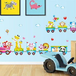 50*70cm Cartoon Wall Stickers For Kids Rooms Small Train Animal Decals Home Decor Colorful Poster