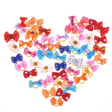 50pcs Lot Dog Bows Charms Mix Designs Pet Hair Bows Grooming Dog Hair Accessories Lots Pretty Festive