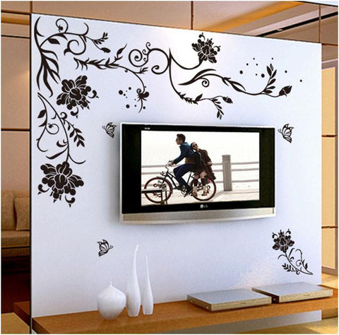 [Saturday Monopoly] black butterfly flower vine wall stickers home decor bedroom living room wall background decorative decals