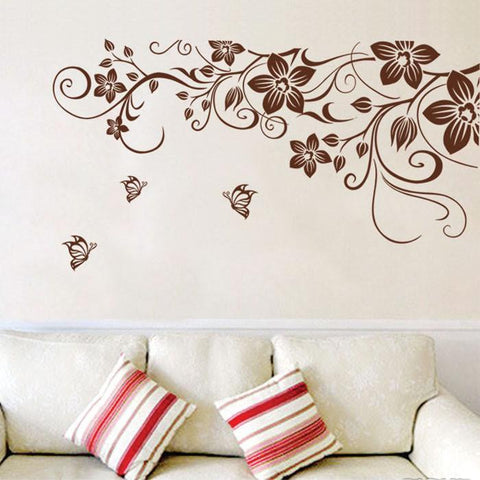 [Saturday Monopoly] DIY brown butterfly flower vine wall stickers home decor living room art wall decals interior decoration
