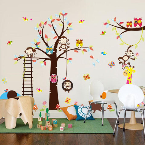 [Saturday Monopoly] DIY cartoon happy monkey owl tree wall decals vinyl baby room kids bedroom wall home decor wall sticker 1128