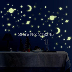 [Saturday Monopoly] glow in the dark wall sticker Star Universe children bedroom baby room home decor mural DIY 0074