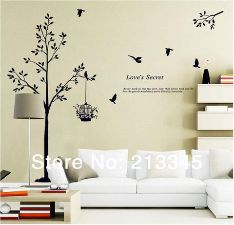 [Saturday Monopoly] home decor tree wall stickers birdcage birds black wall decal decoration home murals stickers muraux