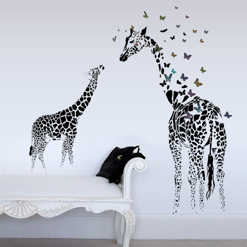 60*90cm Large Giraffe Wall Sticker Removable Vinyl Wall Decals Animals Butterfly Black Art Mural for Living Room Decor ZHH1075