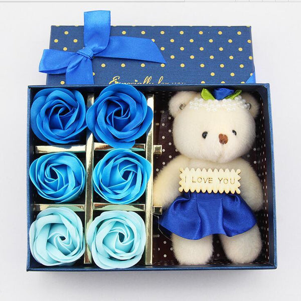 6Pcs Box Romantic Rose Soap Flower With Little Cute Bear Doll Great For Valentine's Day Wedding birthday