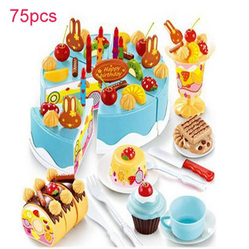 75pcs Kitchen Toys Pretend Play Cutting Birthday Cake Food Toy Kitchen For Children Plastic Play Food Cocina De Juguete Tea Set