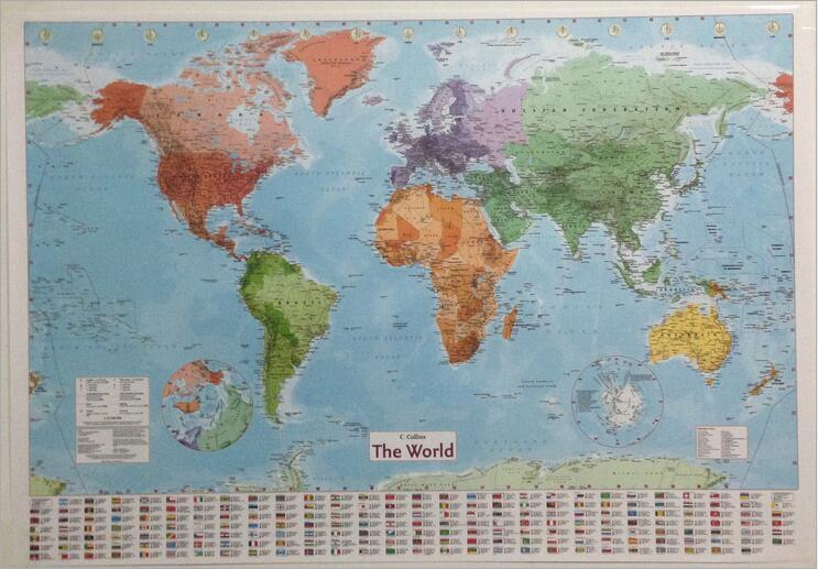 98 x68 cm latest World Geography Map English labeling waterproof Map World Map Poster