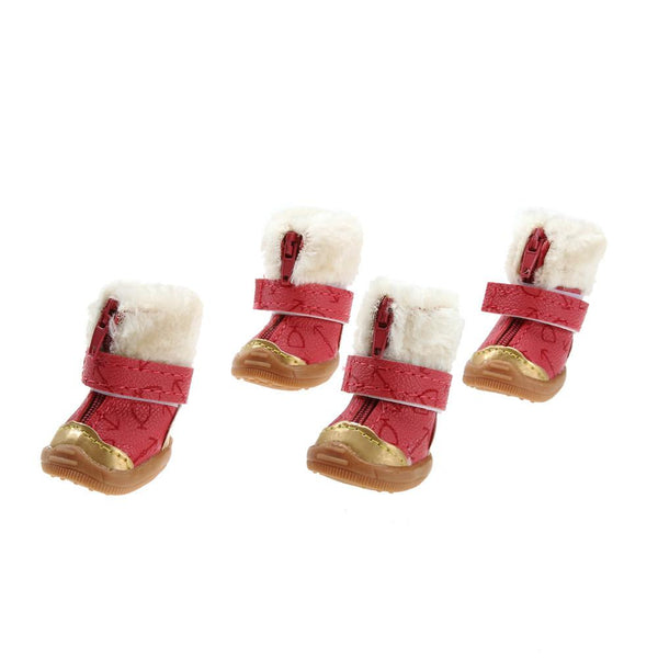 Aslt Anti Slip Pet Dog Shoes Snow Winter 4pcs Set Dog's Boots Waterproof Cotton Super Warm Pet Boots Size S-xl Pet Cat Product