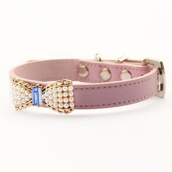 Armi Store Pearl Bow Pet Puppy Princess Collar 6041023 Fashion Dog Collars