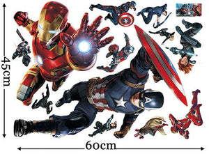 Avengers Civil War 3d Through Wall Stickers Superheroes Decals Home Decoration Wall Paper Art Captain America Kids Room Posters