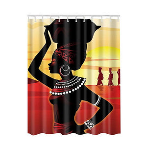 Bath Curtains Modern Beach Shells Custom Distinctive Cartoon African Woman Waterproof Bathroom Shower Curtain