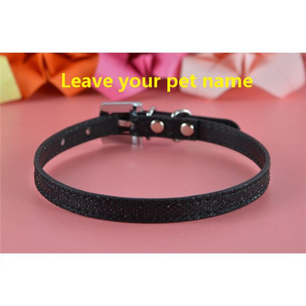 Bling Pu Leather 10mm Personalized Dog Pet Puppy Cat Collar With Letters Charms