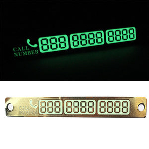 Car Styling Parking Notification Phone Number Card Luminous Telephone Number Plate Car-styling Accessories