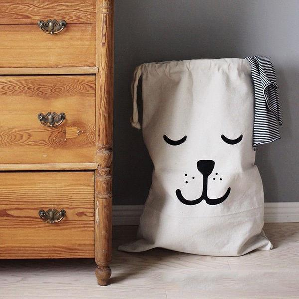 Cartoon Printing Laundry Storage Bag Household Pouch Cotton Canvas Bag For Baby Kids Toys Storage Bag Cute Wall Pocket
