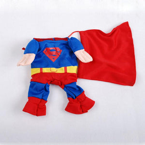 Cool Superman Dog Costume Winter Cosplay Puppy Clothes Soft Cotton Dog Outfit Size 1-5