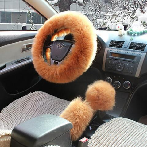 Cover On The Steering Wheel Long Wool Plush Steering Wheel Cover Woolen Winter Car Accessory