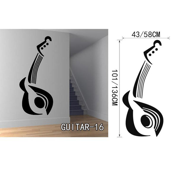 Creative Art Guitar Wall Stickers Home Decor Diy Home Decorations Music Wall Decals Living Room