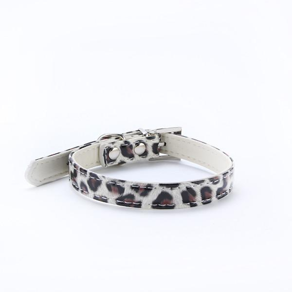 Dog Collar Leopard Printed Collar Pet Cat Leather Buckle Puppy Dog Neck Strap
