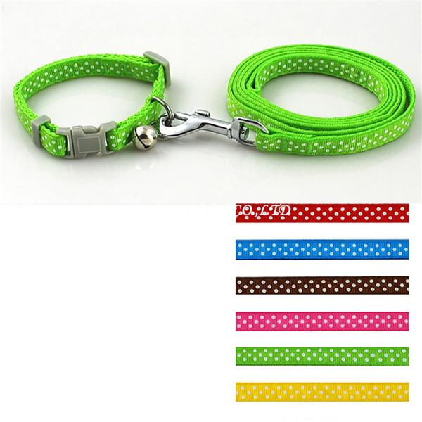Dot Printed Nylon Pet Dog Necklace Pet Dog Collar And Leash Lead Set With Bell