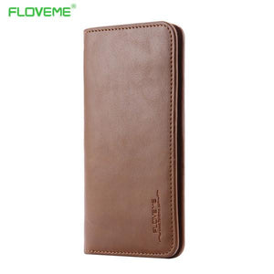 Floveme Real Leather Wallet Pouch Phone Bag For Iphone 7 6s Plus 5s Luxury Case Purse Cover For Samsung Galaxy S6 S7 A5 A7 A3