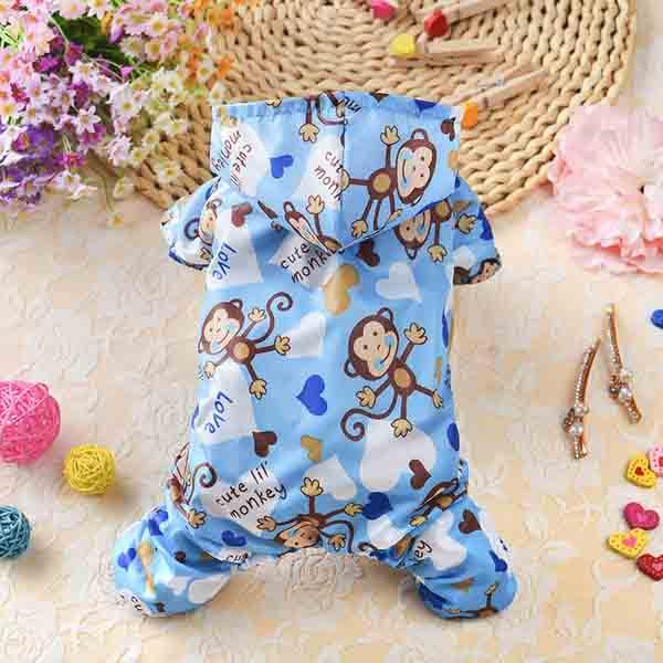 Fashion inch monkey inch Printed Dog Raincoat Acrylic Puppy Waterproof Coat With Hooded Mesh Pet Clothes For Small Dogs Pet Supplies